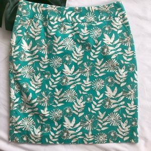 Rafaella Green Floral Prnt Skirt Size 8 NWOT